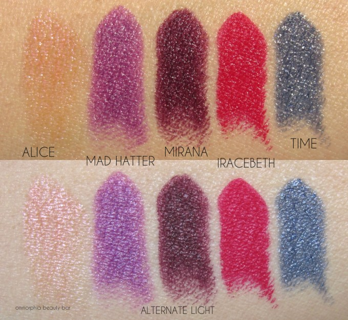 UD Alice Through The Looking Glass lipstick swatches