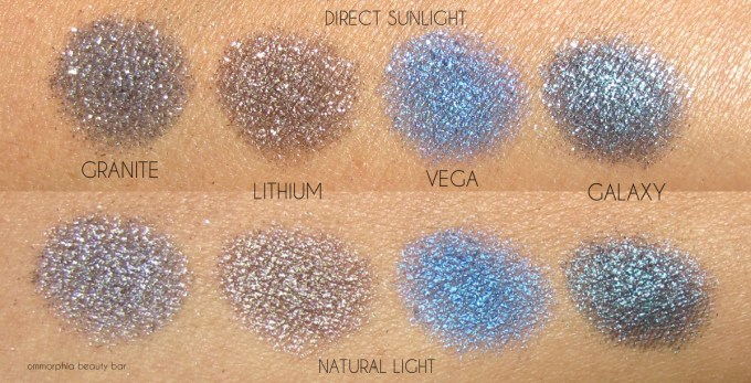 UD Moondust Palette swatches bottom row