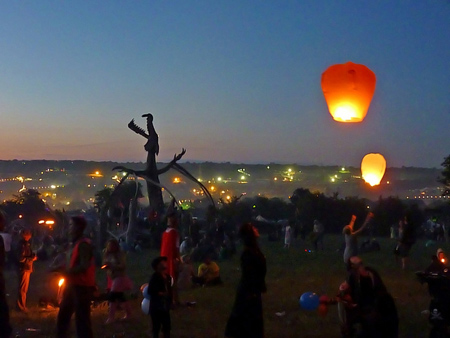 A night view of the grounds of Glastonbury Festival in Somerset, England