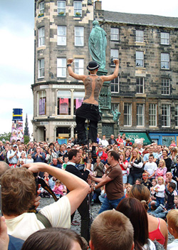 People gathered to see an act at the Edinburgh Festival