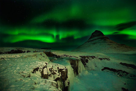 A view of the Aurora Borealis as seen one night in Iceland