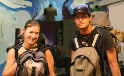 Two backpackers at a hostel