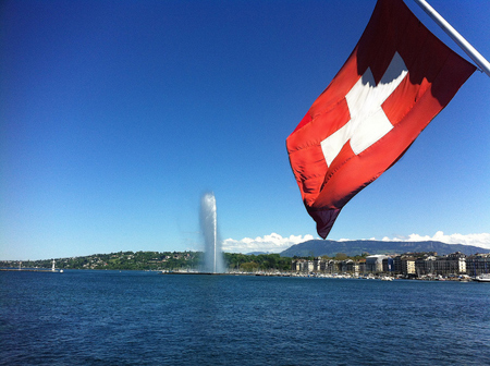 Lake Genèva (Lac Léman) with Genèva's Most Well-Known Landmark, le Jet d'Eau (the Water Jet)