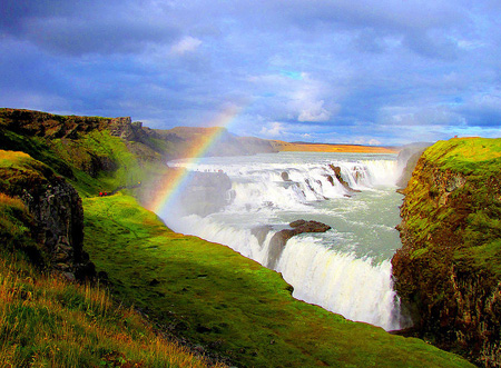 A view of the beautiful Gullfoss Waterfalls