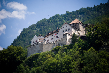 Castle Vaduz on a steep mountainside in Liechtenstein