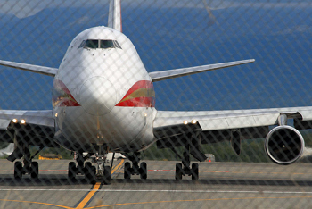Closeup of the front of a jumbo jet