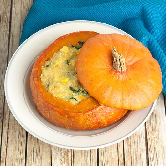 Om Nom Ally - Cheese Corn & Quinoa Stuffed Pumpkin