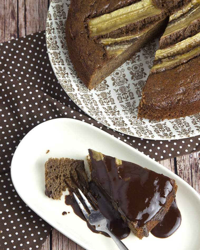 Whole Grain Chocolate Banana Cake with Chocolate Syrup @OmNomAlly