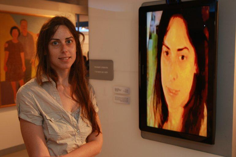 "Tal Golan In Tel Aviv Museum of Art, in front of ""Between You & Me"""