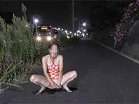 道路沿いで露出変態オナニーを決行するガチでヤバイオンナ