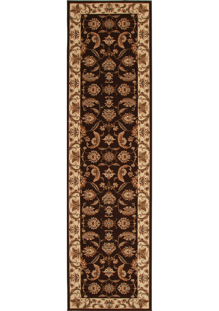 Hall Runners By The Metre Sienna Large Brown 1 5 Million Point Traditional Runner Rug 400x80cm By Rug Culture
