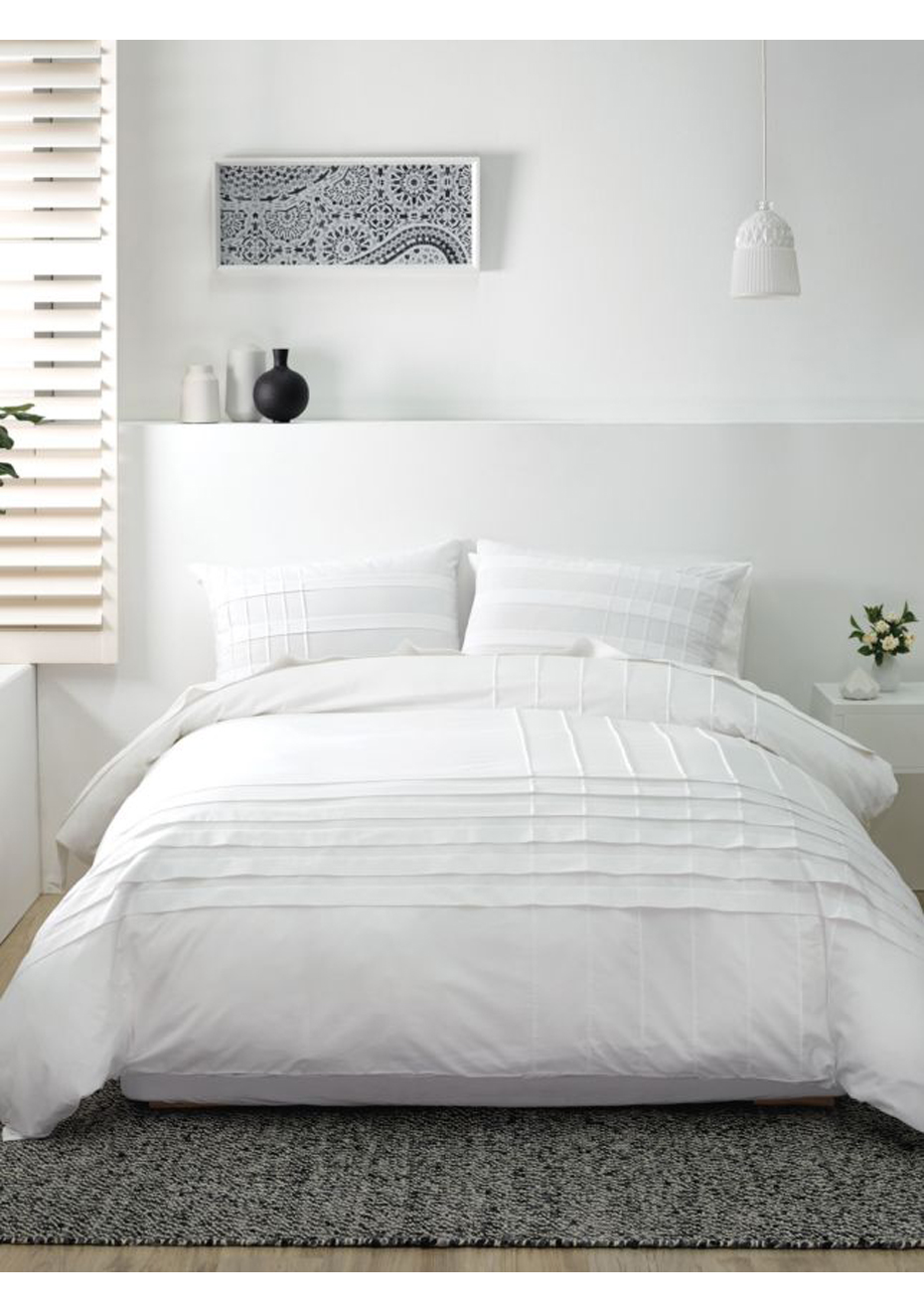 Pleated Detail Queen Bed Duvet Cover Set White Queen