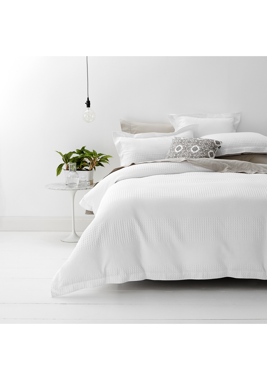 White Single Quilt Cover Style And Co 100 Cotton Jacquard Waffle Quilt Cover Set