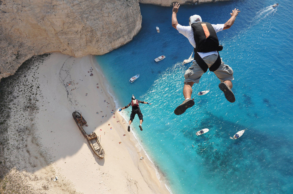 free fall off a cliff, zakynthos, greece