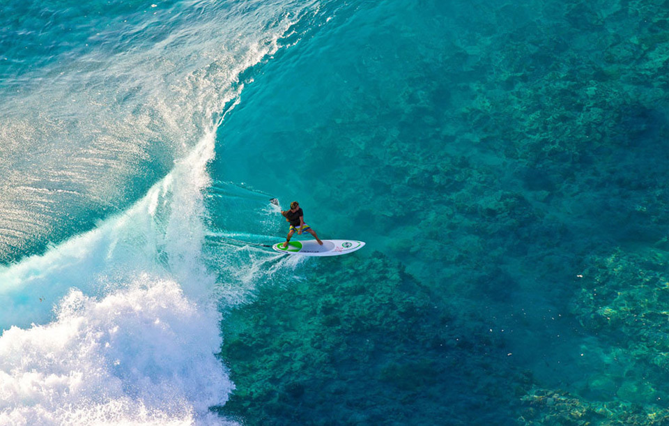 surfing at french polynesian islands
