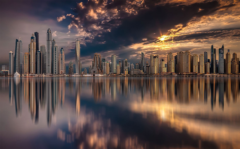 dubai skyline during sunset