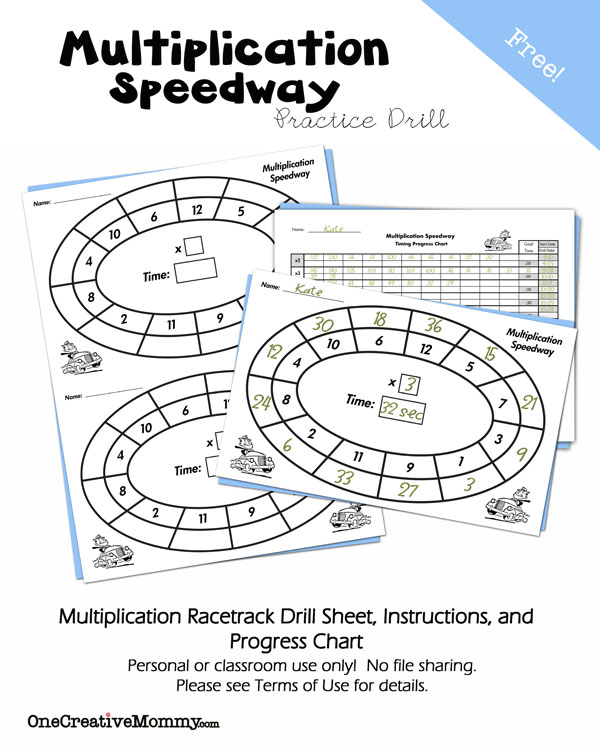 Multiplication Speedway Math Drill - onecreativemommy - progress chart for kids