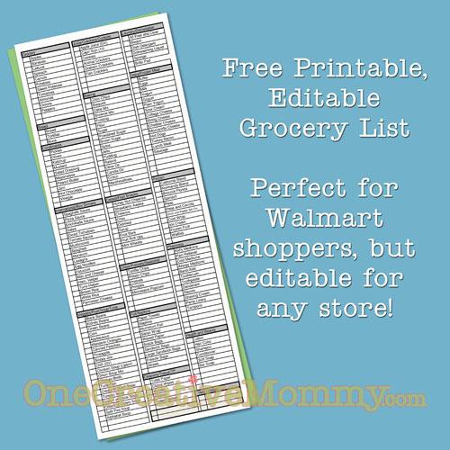 Freebie Friday-Printable Grocery List - onecreativemommy