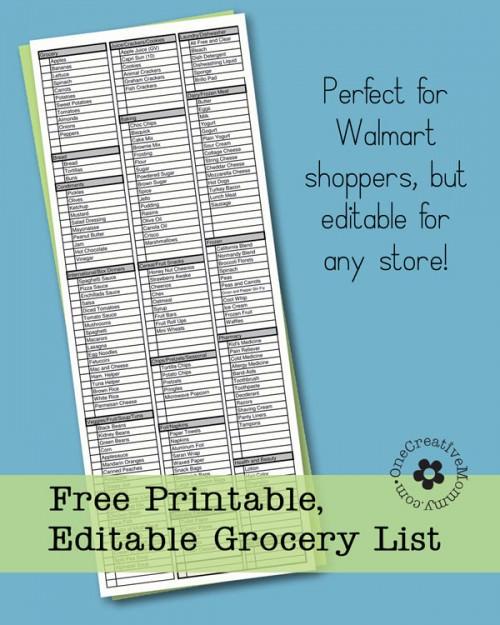 Freebie Friday-Printable Grocery List - onecreativemommy - grocery list word