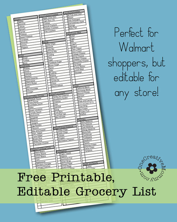 Freebie Friday-Printable Grocery List - onecreativemommy - printable shopping list