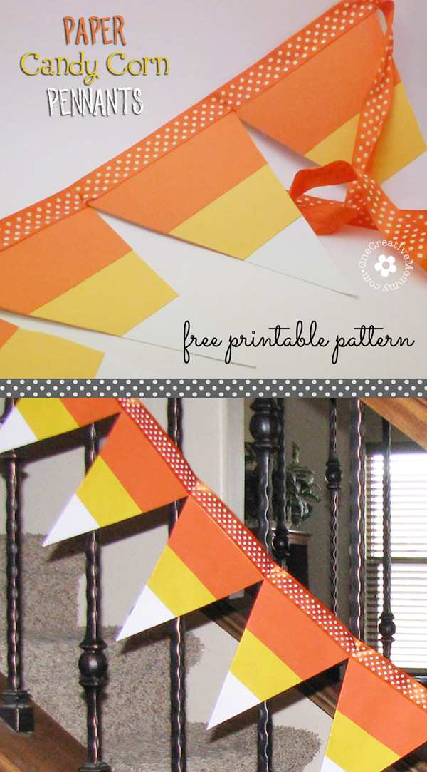 Paper Candy Corn Pennants - onecreativemommy