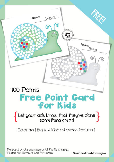 Motivational Point Cards for Kids {100 Point Snail