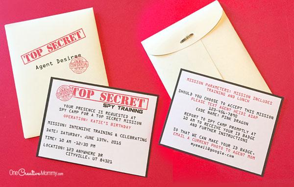 Printable Spy Party Invitations - onecreativemommy