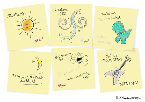Make your kid\u0027s day with printable sticky notes! - onecreativemommy