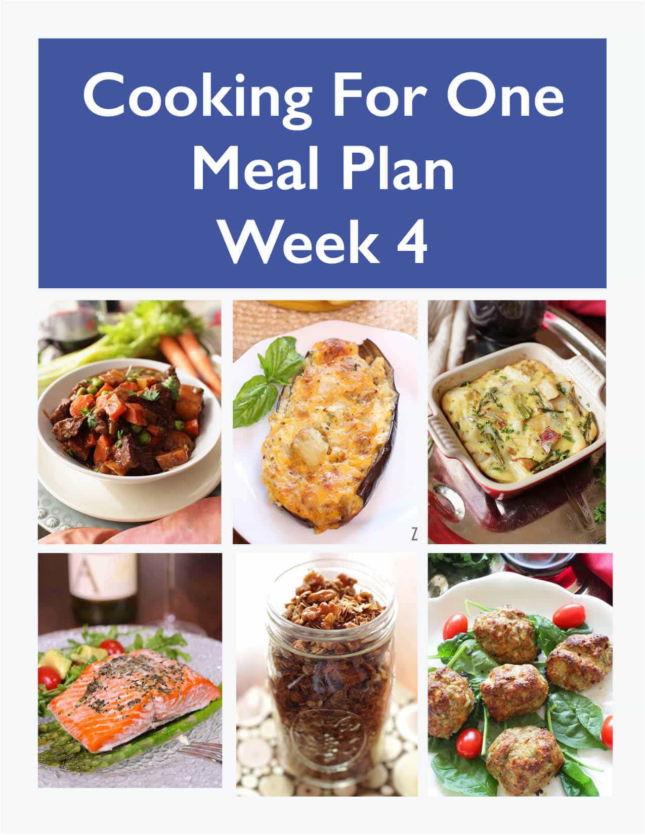 weekly meal planner for one