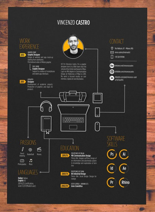 50 Simple  Creative Resume (CV) Design Ideas / Examples For 2017
