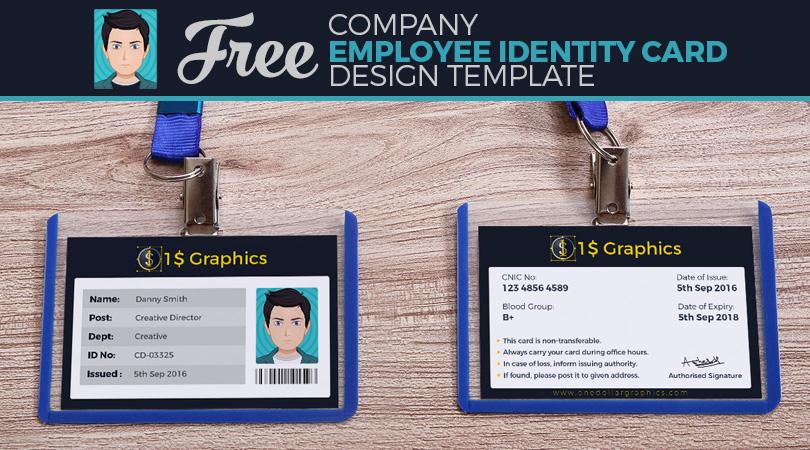 Free Company Employee Identity Card Design Template \u2013 One Dollar - card design template