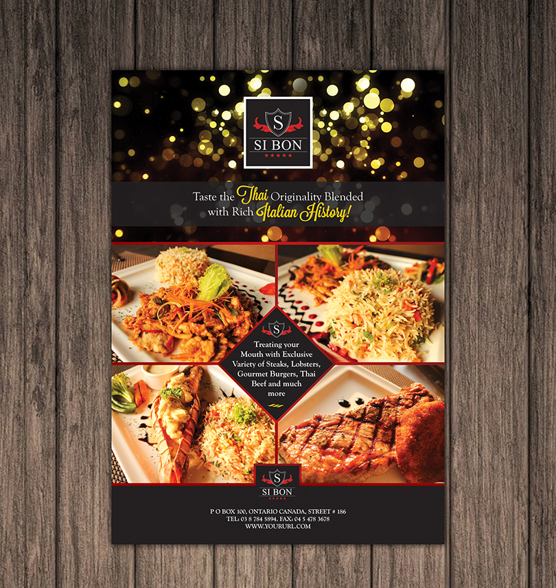 Hotel-Restaurant Flyer Design Template \u2013 One Dollar Graphics