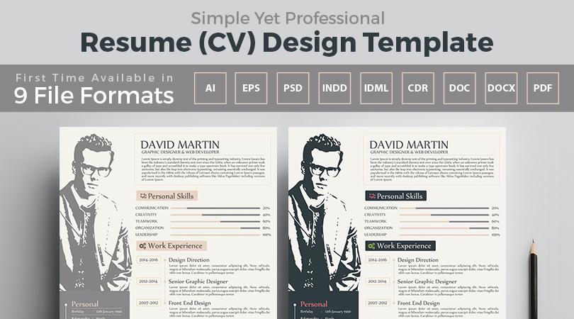 Simple Yet Frofessional Resume-CV Design Templates