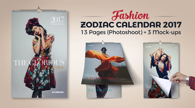 12 Zodiac Signs Fashion Wall Calendar Design Template 2017  Mock-up