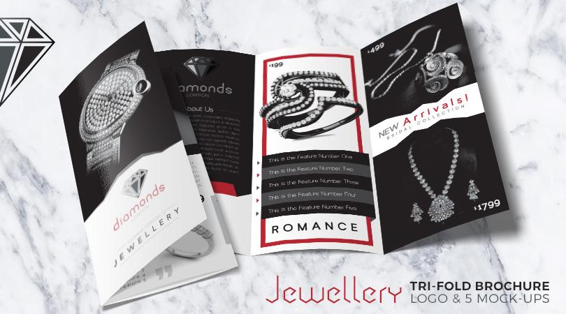 Jewellery Tri-Fold Brochure  Logo Design Template with 5 Mock-up