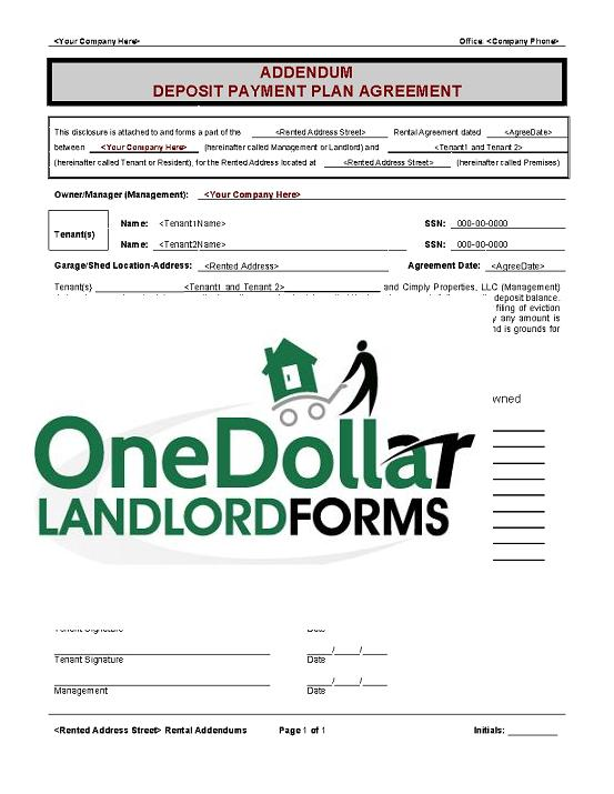B05-Addendum Deposit Payment Plan OneDollarLandlordForms - Rental