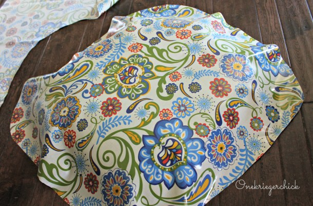 fabric on barstool cushion {Onekriegerchick.com}