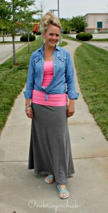 Vintage chambray, hot pink and grey {Onekriegerchick.com}