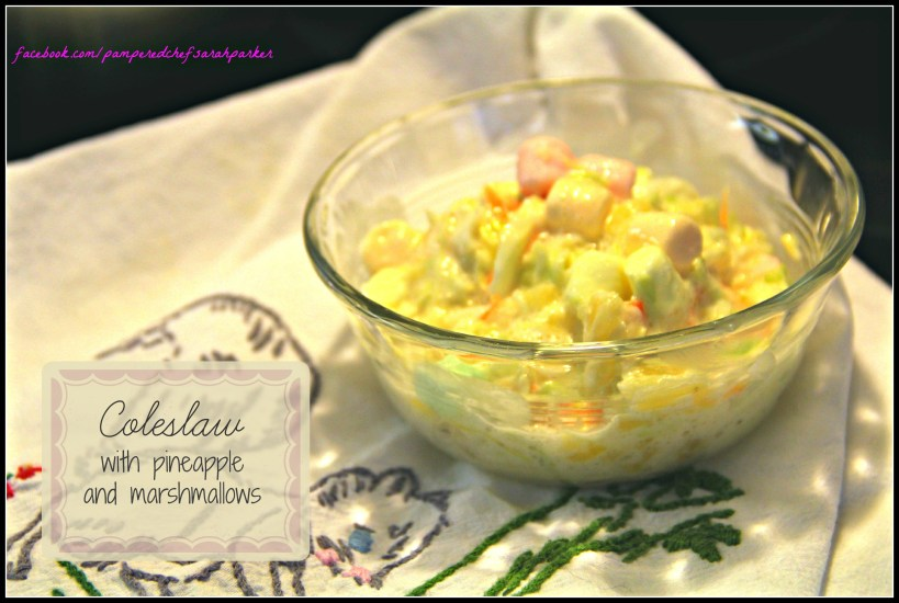 Coleslaw with pineapple and marshmallows...simple and delicious! {Onekriegerchick.com}