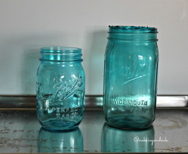 Comparison of store bought vs. painted Mason Jars {Onekriegerchick.com}