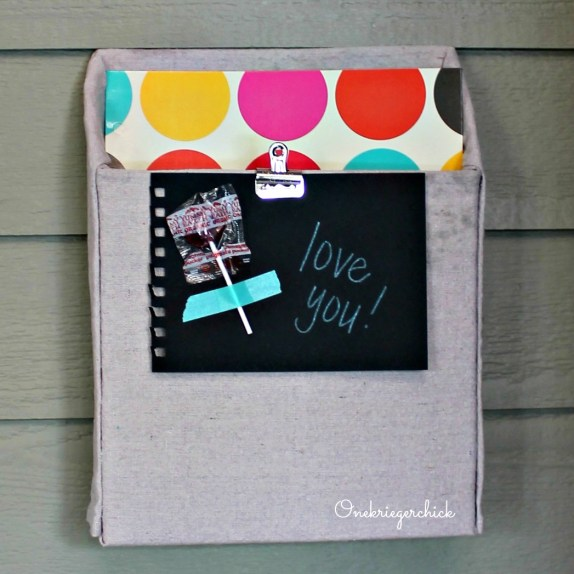 drop cloth covered cereal box...great idea! {Onekriegerchick.com}
