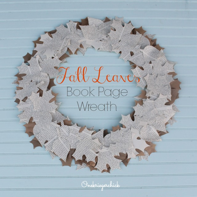 Fall Leaves Book Page Wreath I Onekriegerchick