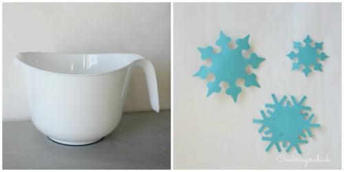 white mixing bowl with vinyl decals