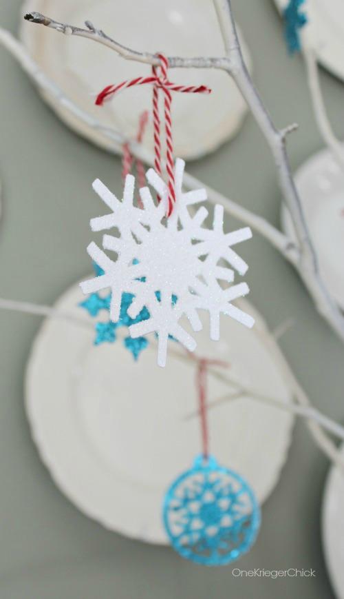 DIY Glitter Snowflakes