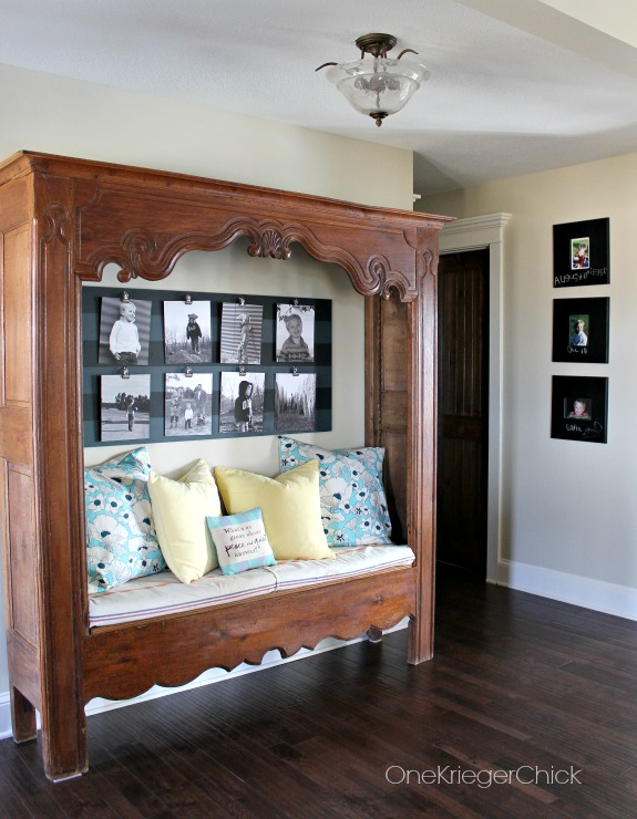 Entryway bench and Gallery photo board