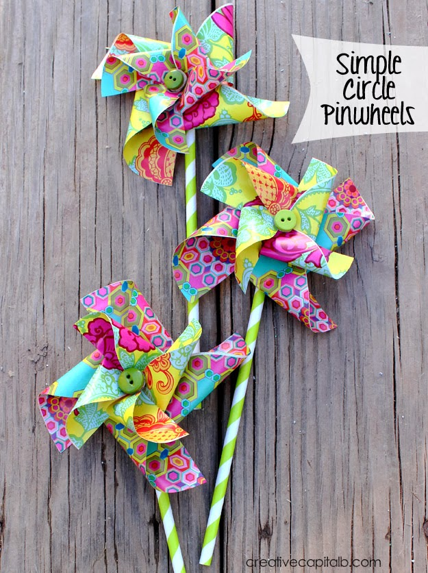 Make Simple Circle Pinwheels that Really Spin for bright unique Spring Decor