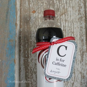 Printable C is for Caffeine tag