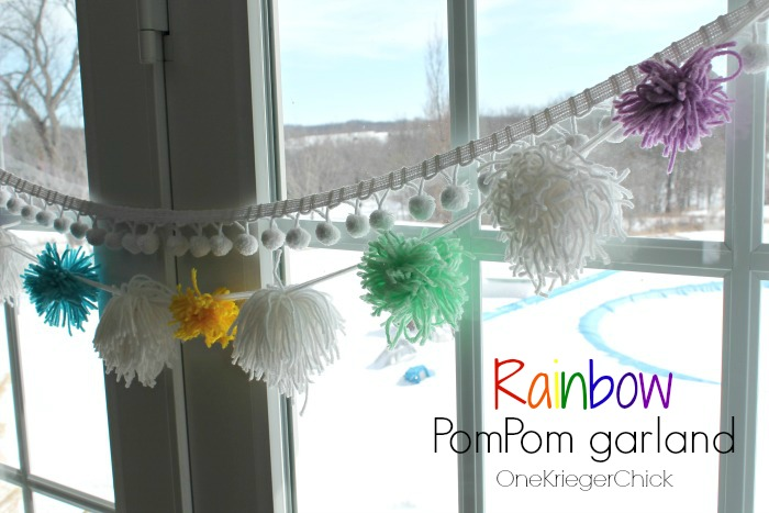 Rainbow pompom garland in 15 minutes!