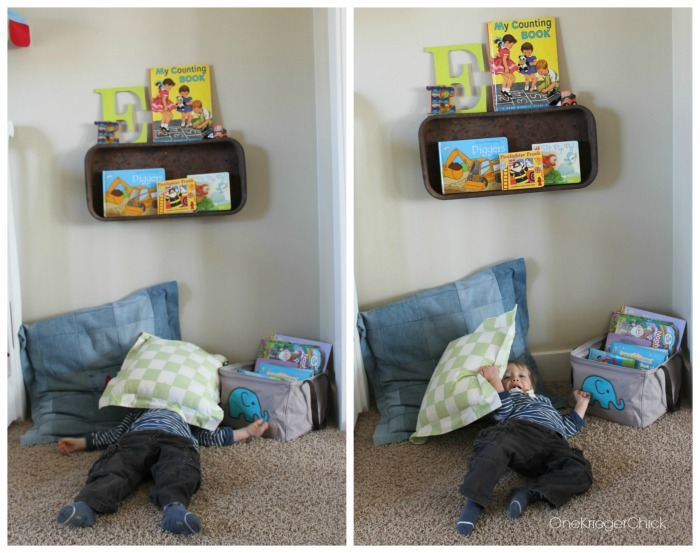 Wagon turned shelf-perfect for little boys room