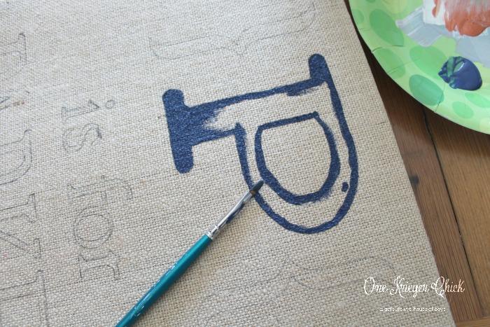 Painting kids monogram burlap art